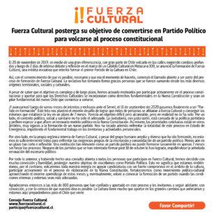 Declaración Pública sobre postergación de Inscripción de Fuerza Cultural como Partido Político